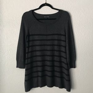 Cable & Gauge | Striped Tunic Sweater Gray & Black